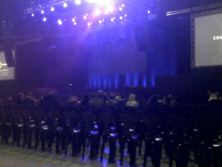 A view of the stage as the Coca-Cola dome anticipates Michael McIntyre's performance on 20 April.